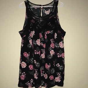 Torrid size 2 black tank with pink roses